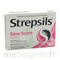 STREPSILS FRAISE SANS SUCRE, pastille édulcorée à l'isomalt, au maltitol et à la saccharine sodique à VERNON